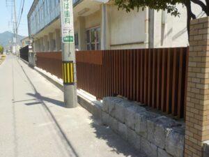 祇園小学校、木製板塀、木塀